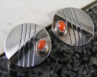 Vintage Signed Native American Coral Earrings in Sterling Silver..... Lot 3908