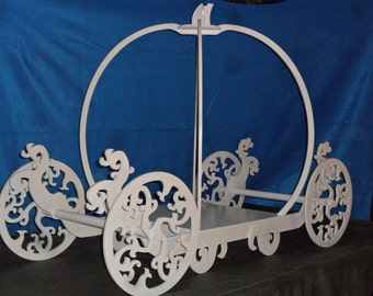 """Princess Carriage Wood 24"""" Plate  Painted White, Ivory, Gold or Silver Cake Stand"""