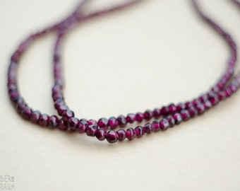 Minimalistic Garnet Bead Necklace - tribal double stranded oxblood necklace with bronze details - ethnic, boho