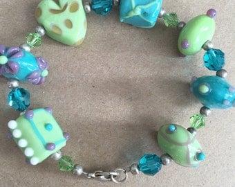 Green and Blue Glass Beaded Bracelet with Swarovski Crystal Beads