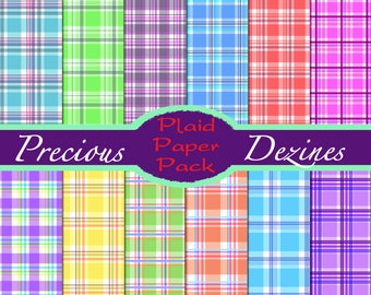 Perfectly Plaid Paper for instant download, scrapbooking, digital download, digital paper, printable paper