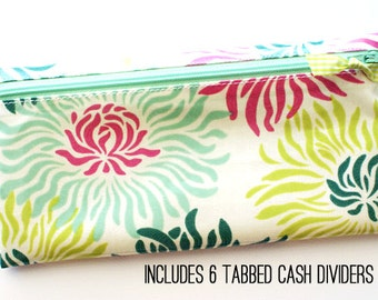 Cash budget wallet | 6 tabbed cash dividers for envelope system budget | pink, green, mint, turquoise mums