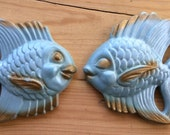 Vintage Gold and Blue Goldfish Chalkware Wall hangings