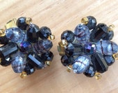 Black and Purple toned jeweled clip-on Earrings