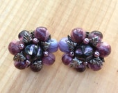 Shades of Purple Vintage Clip-on Earrings
