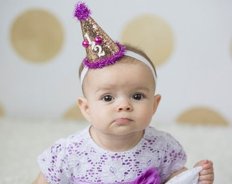 First Birthday Mini Party Hat in Hot Pink and Gold - Mini Hat - First Birthday Hat - Princess Crown