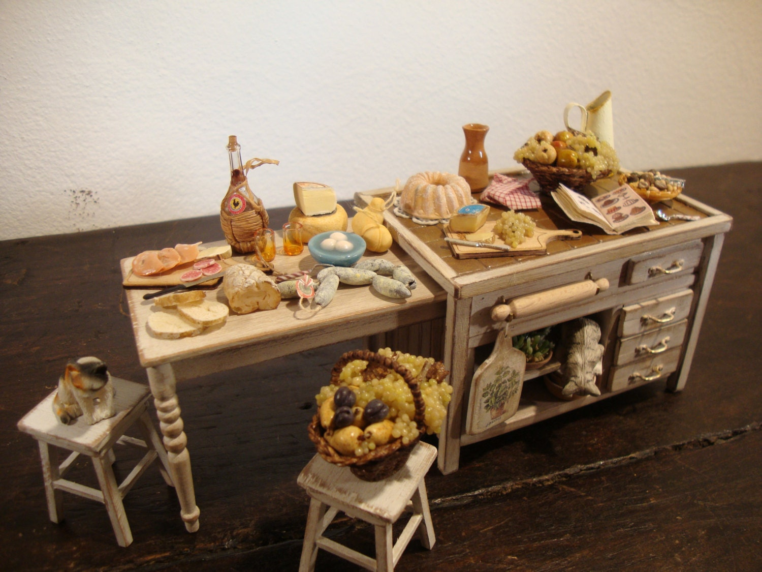 Miniature Tuscan Style Kitchen Table Shabby Chic