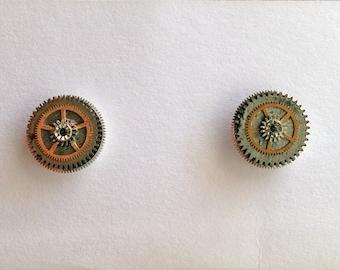 Clock Part Stud Earrings
