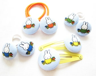 Button hair clips and hair bobbles made with Miffy fabric. Perfectly pocket sized bunny rabbit gift for Spring. Choose size type and colour.