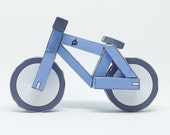 BLUE paperbikes v1 - papercraft bike paper model kit - mountain bicycle