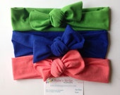 Jersey Knit tie headband- spring baby turban and adult head wrap- set of THREE/royal blue/coral/green