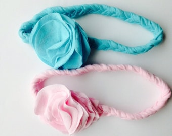 Jersey knit braided headband-flower-infant-baby-flower headband