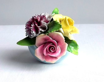 Fine bone china flowers in a pot by Staffordshire Floral bone china, England