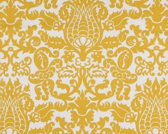 "Two  96"" x 50""  Custom Curtain Panels - Amsterdam Damask  - Corn Yellow."
