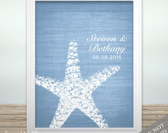 Starfish Connection - Custom Beach Wedding Date Name Print - Personalized Wedding Gift - Bridal Shower Gift - Engagement Present - Unframed