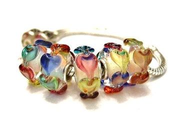 2 Raised Glass, Rainbow Hearts, Multicolor, Lampwork,  European Charm Bracelet Beads - Euro, Large Hole