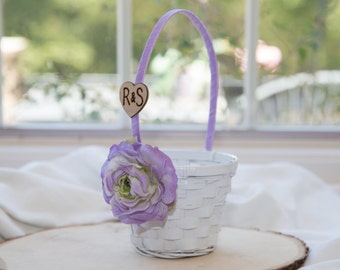 Small White Flower girl basket You personalize with choice of flower