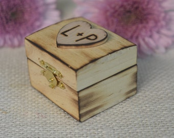 Personalized Rustic burned Wood Ring Box. Bride and Groom initials are hand engraved