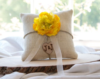 Yellow flower custom ivory burlap ring bearer pillow  shabby chic with engraved heart  initials... many more colors available