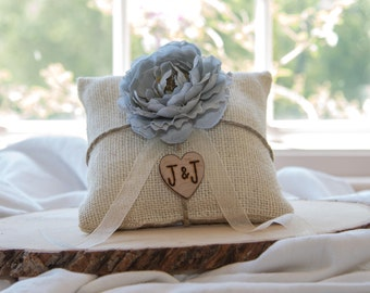 Gray flower custom ivory burlap ring bearer pillow  shabby chic with engraved heart  initials... many more colors available
