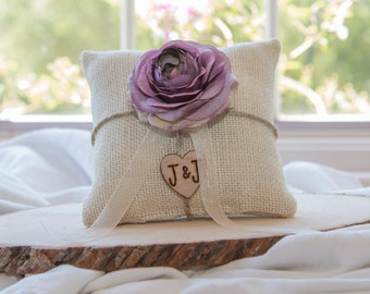 Purple Ranunculus custom ivory burlap ring bearer pillow  shabby chic with engraved heart  initials... many more colors available