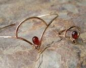 Valentines day gift Delicate Mozambique Garnet Bracelet // Art Deco Series