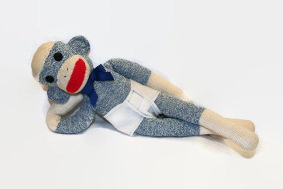 1st Sock Monkey for Baby, Blue Stuffed Sock Monkey Toy, Baby Safe Sock Monkey, Blue Red Heel Sock Monkey, Blue Monkey