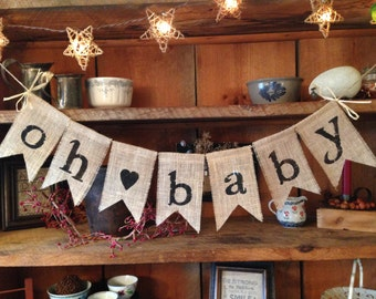 Burlap Bunting, Burlap Baby Bunting, Burlap Baby Garland, Baby Shower Decor, Shower Gift, Nursery Bunting, Birthday Bunting, Oh Baby Bunting