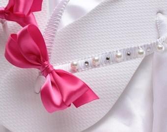 Hot Pink Flip Flops wedding shower gift, Bridal shower gift, Bridal flip flops, Bridesmaids favor, wedding ceremony, wedding anniversary