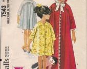 1964 Sewing Pattern McCall's 7543 girls robe size 10