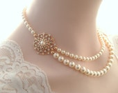 Bridal necklace-Rose gold vintage inspired art deco Swarovski crystal rhinestone bridal necklace -Swarovski crystal and pearl necklace