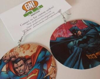 Batman and Superman Comic Book Earrings