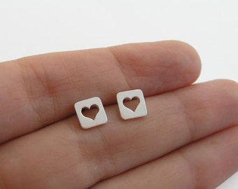 Heart Earrings - Heart in a Square Studs - Sterling Silver - Heart Button - Heart Jewelry