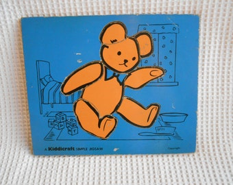 Teddy Bear Vintage Wood Puzzle Game Toy Childrens Kiddicraft