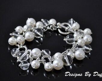 Swarovski Pearl and Crystal Quartz Bauble Bracelet