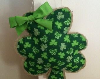 Burlap Shamrock St. Patrick's Day door hanger