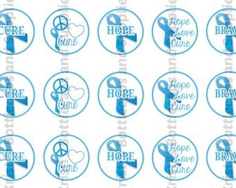 Prostate Cancer Awareness Blue Ribbon Bottlecap Digital Download