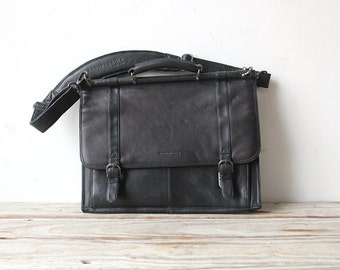 Vintage Black Leather Kenneth Cole Laptop Briefcase Bag
