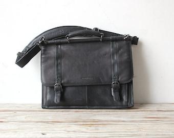 Vintage Black Leather Kenneth Cole Laptop Briefcase Bag