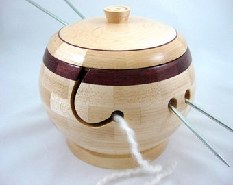 Lidded Segmented, Wooden Knitting and Yarn Bowl, Maple Body and Purpleheart Rim, Lathe Turned, As Seen In Knit Wear and Interweave Magazines