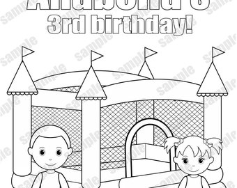 Personalized Printable Bouncy Bounce House Favor Thank You Childrens Kids Coloring Page Activity PDF Or JPEG