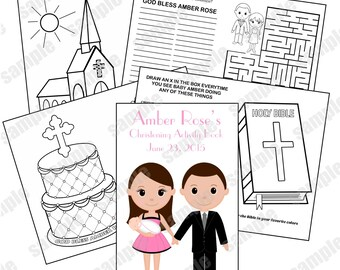 Printable Personalized Custom Christening Baptism Favor Kids coloring activity book PDF or JPEG TEMPLATE