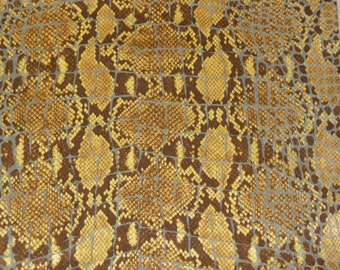 """Leather 8""""x10"""" Brown and Gold Metallic Python with Croc print on Beige Cowhide 2-2.5 oz /.8-1 mm PeggySueAlso LIMITED SUPPLY"""
