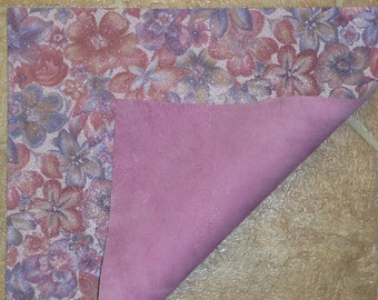 """Leather CLOSEOUT 12""""x12"""" Glistening Lilac / lavender Multi GARDEN FLOWER Cowhide 3.5-3.75 oz/1.4-1.5 mm PeggySueAlso"""