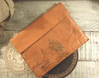 Vintage Stocking Pouch / Leather Pouch / Hosiery Bag 1940s / California Souvenir / Lingerie Bag