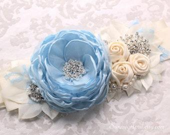 Light Blue Ivory Sash/ Wedding Sash/ Handmade Bridal Accessory