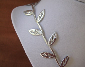 Silver Leaves Ribbon Trim for Wedding, Crafting, Scrapbooking, Card Making, Embellishment,  3/4 inch wide, 10 yards