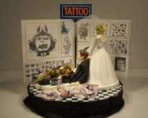 tattoo wedding cake toppers popular items for on etsy 20765