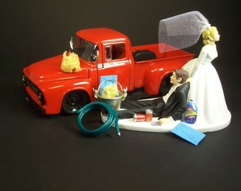wedding cake toppers pickup truck auto mechanic and groom 2002 nissan skyline gtr r34 blue 26578