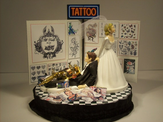 tattooed bride wedding cake toppers wedding cake topper and groom inked 20756